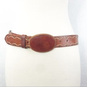 "Express Brown Leather Belt S 25""-30"""